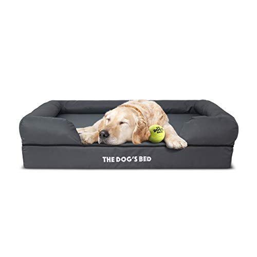 The Dog's Bed Orthopedic Dog Bed Large Grey 36x27, Premium Memory Foam, Pain Relief: Arthritis, Hip & Elbow Dysplasia, Post Surgery, Lameness, Supportive, Calming, Waterproof Washable Cover