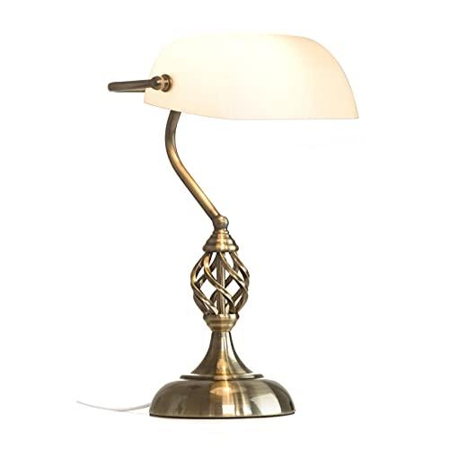 Wzglod Lámpara de Escritorio de banqueros Lámpara de banqueros Tradicionales de latón Antiguo Opal Lámpara de Mesa Art Deco Lámpara de Mesa Antigua 36 * 28 cm