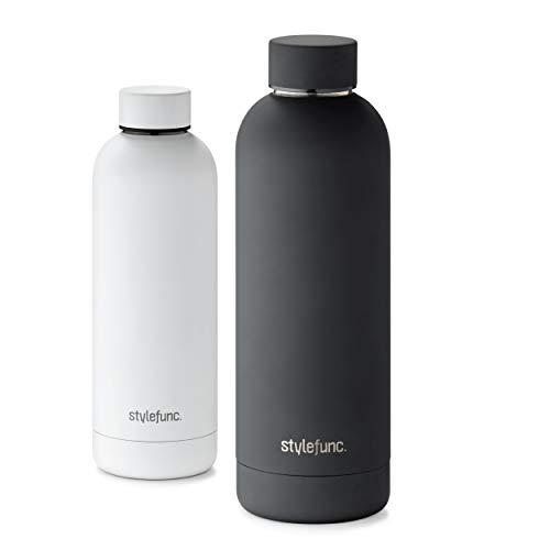 stylefunc. Edelstahl Trinkflasche   500ml 750ml isolierte Wasser-flasche   auslaufsichere Isolierflasche   Thermosflasche für Büro, Schule, Uni, Sport, Fitness und unterwegs (pure black, 500 ml)