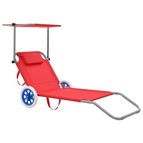 Festnight Chaise Longue Pliable de Jardin Bain de Soleil pour terrasse d'extérieur Patio Rouge 146 x 52 cm