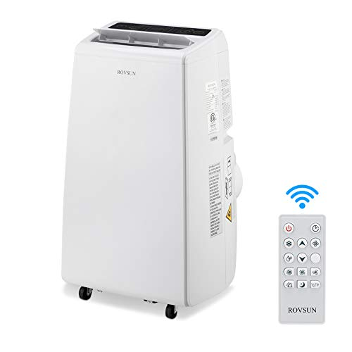 ROVSUN 13,000 BTU 4-in-1 Portable Air Conditioner, Heater, Dehumidifier, Fan, for Rooms up to 450 Sq Ft. Floor AC with Remote Control & Rolling Wheels & Window Installation Kit, White