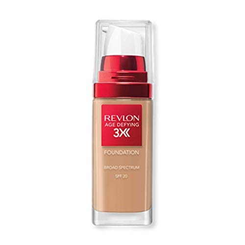 Revlon Age Defying 3X Makeup Foundation, Firming, Lifting and Anti-Aging Medium, Buildable Coverage with Natural Finish SPF 20, 035 Natural Beige, 1 fl oz