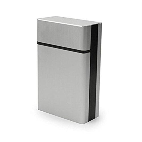 winomo Zigarette Fall Leichte Aluminium-Silber Zigarettenschachtel Zigarre Schutzhülle (Silber)
