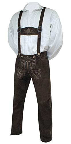 Lederhose mit Träger Trachtenhose Trachtenlederhose lang braun Trachten Leder Hose hochwertiges Wildbockleder Bestickt Sattelnaht Tellernaht Patina Stickerei, Größe:70