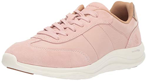 Hush Puppies Women's Cassidy Sneaker Oxford, Pale Rose Suede/Leather, 9 W US