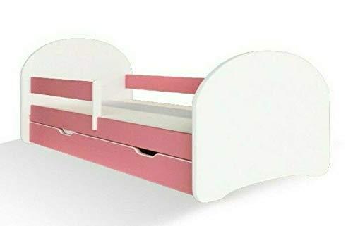 Jugendbett Kinderbett mit Rausfallschutz Matratze Schubladen und Lattenrost Kinderbetten für Mädchen und Junge 140x70cm oder 160x80cmKinder Bett mit eingebautem Kopfteil (160x80cm, Weiß/Rose)