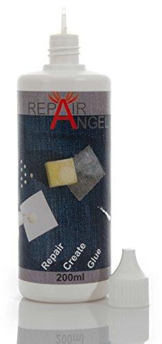 Repair Angel Textilkleber waschmaschinenfest transparent für Stoffe Leder Jeans Marise wasserfest Anti Rutsch noppen Leder Reparatur Set Kleber 200ml