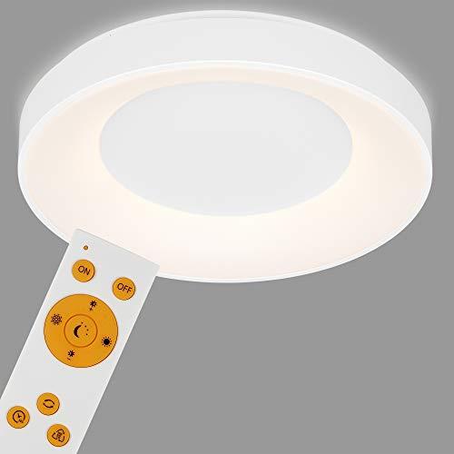 Briloner Leuchten - LED Deckenleuchte, Deckenlampe dimmbar, inkl. Fernbedienung, Farbtemperatursteuerung, inkl. Nachtlicht, Timerfunktion, 36 Watt, 3.600 Lumen, Weiß, Ø 48,4cm