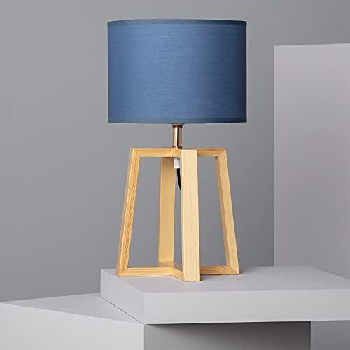LEDKIA LIGHTING Lámpara de Mesa Korsade 460x250 mm Azul E27 Casquillo Gordo Téxtil - Madera Decoración Salón, Habitación, Dormitorio