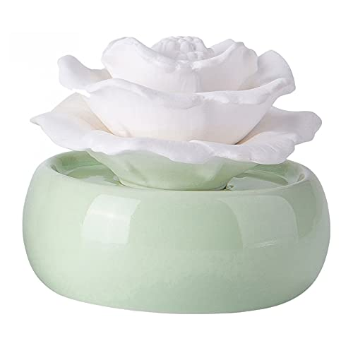 Peony Non-Electric Cordless Ceramic Fragrance Oil Diffusers, Portable Porcelain Essential and Aromatherapy Scent Oil Diffusers for Small Mini Home Decorative Desk Office Bathroom Sparoom,Green Vase
