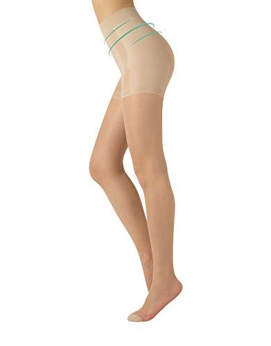 CALZITALY Shaper Figurformende Strumpfhose | Schwarz, Hautfarbe | S, M, L, XL | 15 DEN | Made in Italy (XL, Hautfarbe)