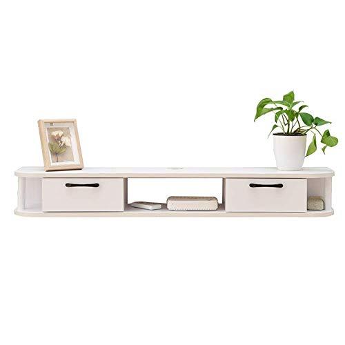 Equipo para el hogar Mueble de TV Consola multimedia moderna montada en la pared Estante de TV flotante Soporte de TV Mantenga todo el mueble de TV de madera perfectamente organizado (Color: Blanco