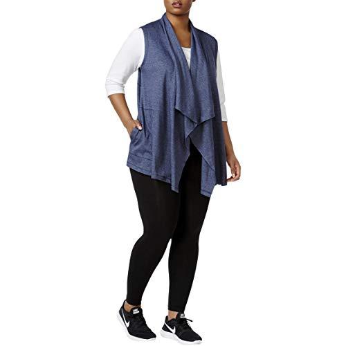 Calvin Klein Damen Übergröße Reißverschluss Schalkragen Weste - Blau - 1X