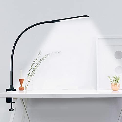 Hokone Lámpara LED de Escritorio, Lámpara de Trabajo,Lámpara de Mesa de Oficina con Control Táctil, 3 * 10 Modos de Brillo, Protección para Ojos, Lámpara de 10W con Pinza, Negro Mate