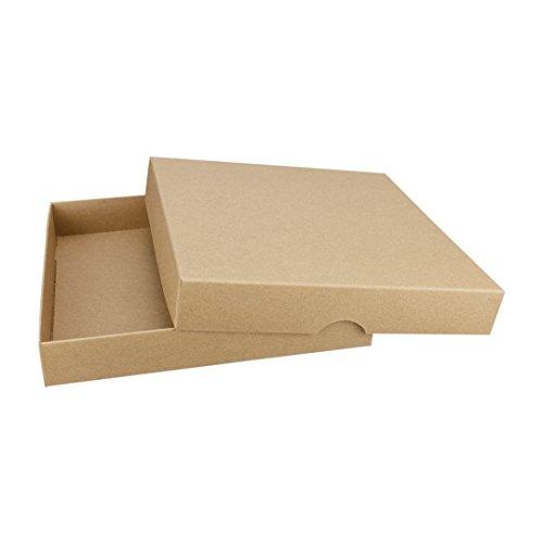 Braune Faltschachtel, quadratisch 156 x 156 mm, Füllhöhe 25 mm, mit Deckel, Kraftpapier, Kraftkarton, Geschenkschachtel, Fotoschachteln - 10er Pack