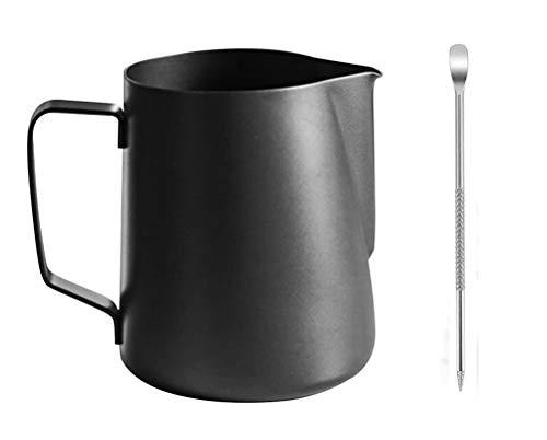 buycheapDG(JP)ミルクジャグ 耐熱 600ML メジャーカップ 本体304厚のステンレス鋼 ステンレススチール泡立て投手水差し蒸し投手用コーヒー、ラテ、泡立てミルク ベーキング 電子レンジ対応 把手付 キッチン ステンレスピック付き