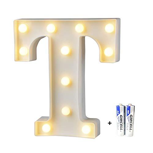 LED Buchstabe Lichter Alphabet, LED Brief Licht, Led dekoration für Geburtstag Party Hochzeit & Urlaub Haus Bar - Buchstabe T