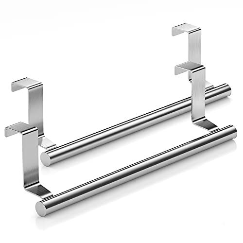 Mosuch Stainless Steel Over Door Towel Rack Bar Holders for Universal Fit on Over Cabinet Cupboard Doors 2 Pack