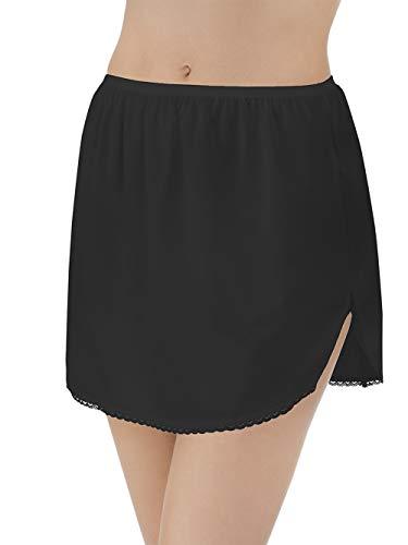 Vanity Fair Women's Anti-Static Nylon Half Slip for Under Dresses, Single Slit-14 Length-Black, Medium