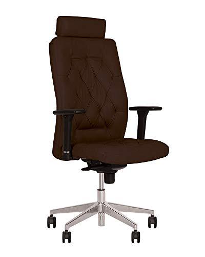 Chester- Poltrona di direzione professionale ergonomica, sinrone, multi-posizione Poggiatesta fissa, braccioli regolabili in altezza (marrone scuro/pelle)