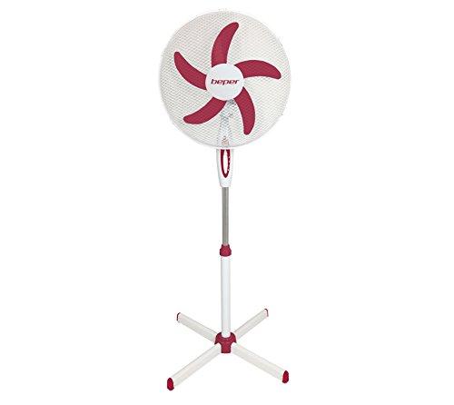 Beper VE, 113h ventilatore a piantana D, 45cm Griglia Protezione in acciaio, 40W, Bianco e Rosso