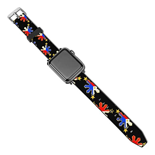 NiYoung Leather Watch Straps Pinoy Filipino Flag Stars and Sun Compatible with Apple Watch Band for Unisex (38mm-40mm)