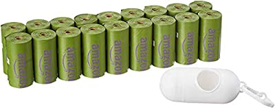 AmazonBasics Scented Dog Poop Bags with Dispenser and Leash Clip, 9 x 13 Inches, Lavender Scented - 270 Count