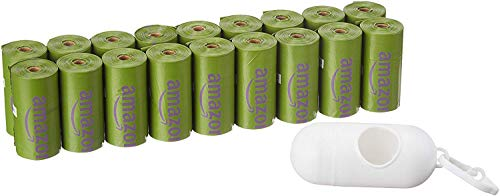 Amazon Basics Scented Dog Poop Bags with Dispenser and Leash Clip, 9 x 13 Inches, Lavender Scented - 270 Count (18 Rolls)