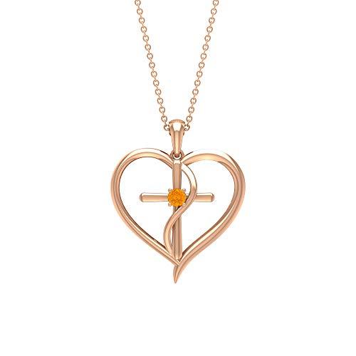 Rosec Jewels 14 quilates oro rosa redonda Orange