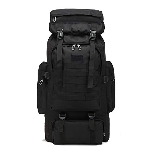LAOLIU -Mochila de senderismo impermeable de 80 l, mochila táctica militar, de camuflaje de gran capacidad para acampar al aire libre, mochila de senderismo (negro)