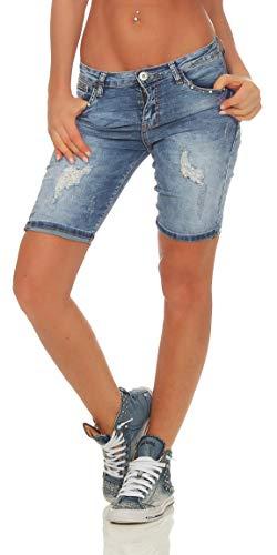 Fashion4Young 11529 Damen Jeans Bermudas Hose Röhrenjeans Denim Shorts Hotpants Risse Jeansbermudas Slimline (blau, S-36)