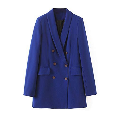 BoxJCNMU Art und Weise Frauen-Anzug-Blazer Langarm zweireihigen Mantel Elegante Damen Arbeits Tops Blue L