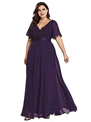 Women's Plus Size Wedding Guest Dress for Women Cocktail Evening Gown Purple US22