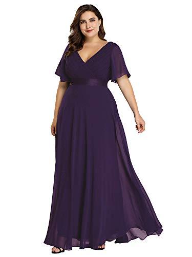 Ever-Pretty Party Plus Size Long Elegant Evening Dresses Women Cocktail 20US Purple