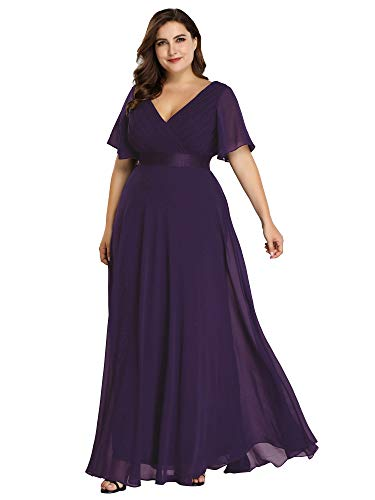 Women's Double V-Neck Short Sleeve Elegant Cocktail Evening Gown Purple US16