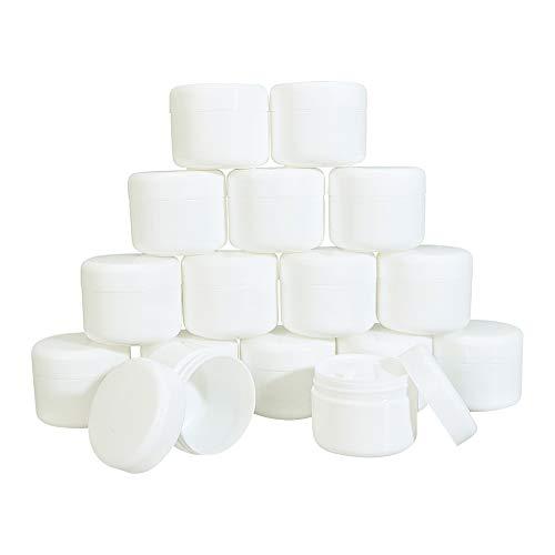 BENECREAT 16 Pack 50ml Tarro de Crema Facial con Forro a Prueba de Fugas con Cuchara de Mezcla y Hoja de Etiqueta Negra Tamaño Portátil Ideal para Llevar y Viajar