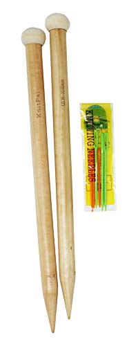 14-inch (35cm) Wooden Oversized Knitting Needles with eBook, 1 Pair, Real Oak Wood Giant Straight Needles for Chunky Yarn,US Size 36 (20mm)