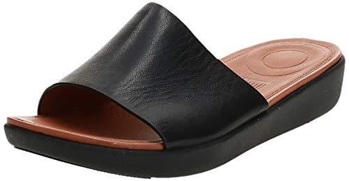 FitFlop Women's Sola Leather Slide Sandal, Black, US06 M US