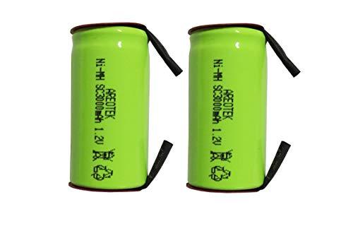 【2個セット】正規容量 国内から発送 22.5x43mm Ni-MH Sub-C SC ニッケル水素 ミニ単2 サブC セル エアガン 電動ガン ドライバー ドリル 工具 掃除機 充電池 バッテリー