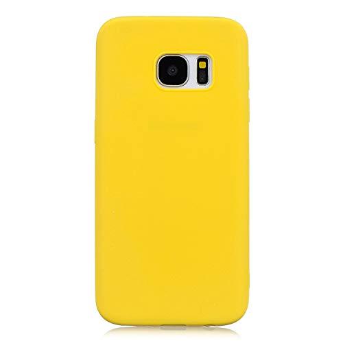 cuzz Funda para Samsung Galaxy S7+{Protector de Pantalla de Vidrio Templado} Carcasa Silicona Suave Gel Rasguño y Resistente Teléfono Móvil Cover-Amarillo