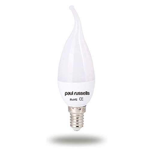 5 Pack 7W Bent Tip Candle LED Light Bulbs E14 SES Small Edison Screw Paul Russells Bright 7W=60W C37 Flame Chandelier 270 Beam Lamp 2700K Warm White 60W Incandescent Replacement