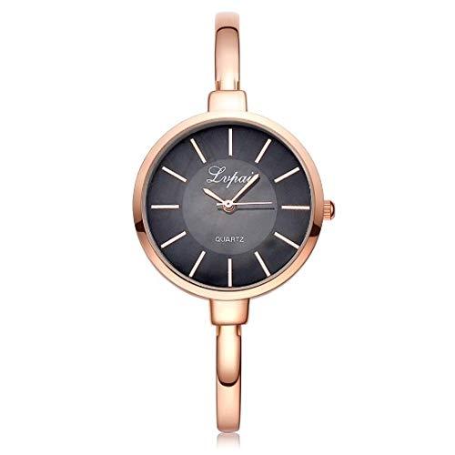 Dos Flor Reloj De Brazalete, Reloj De Cuarzo Lady, Relojes For Niñas, Simple Strap De Aleación De Marcación Redonda Reloj De Cuarzo For Mujer (Color : Rose Gold Black)