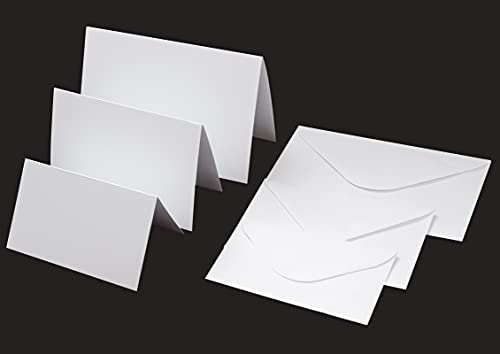 Assorted 3 Sizes White Blank Greeting Cards and Moistenable Glue Envelopes 3 x 5 - 4 x 6 - 5 x 7 Heavyweight Folded Cardstock 50 Pack Printable Christmas Wedding Invitations All Occasions Cards