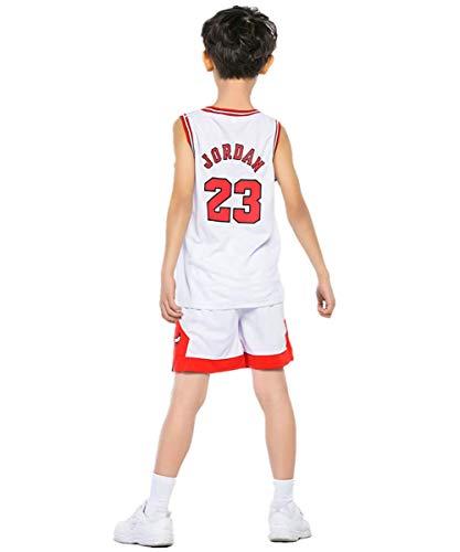 Basketball-Trikots Set für Kinder -NBA Bulls Jordan#23 Basketball-Shirt Weste Top Sommershorts für Jungen und Mädchen (Weiß - Bulls Jordan #23, S)