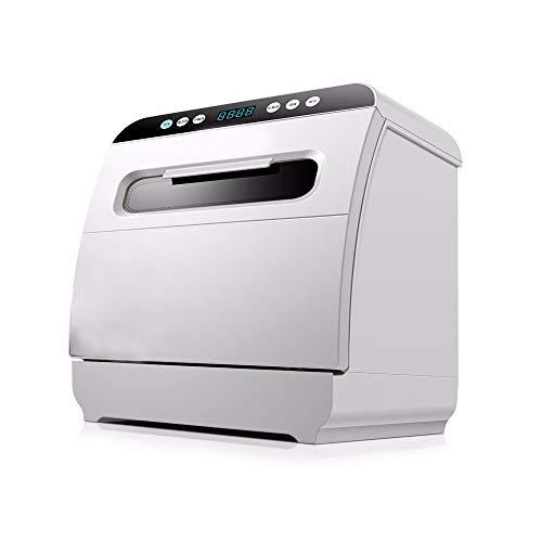 LAMCE Mini Lave-Vaisselle avec écran LED, 5 programmes + Fonction supplémentaire, Lave-Vaisselle de Petite capacité, Silencieux, économe en énergie, désinfection et séchage Automatique White