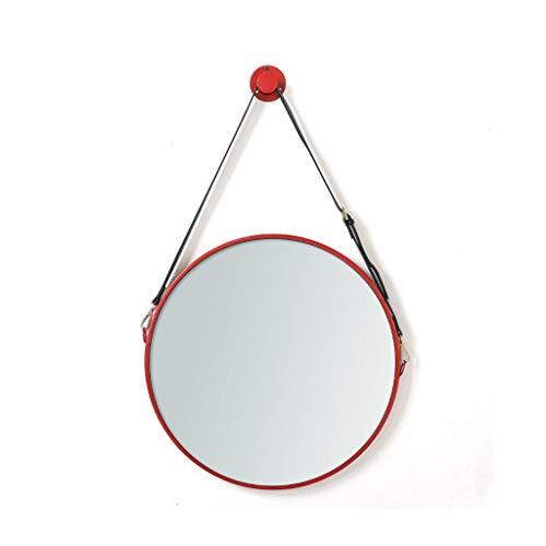 QXHELI Spiegels Spiegels Europese verstelbare leren ronde riemen badkamers rode moderne villa, eenvoudige muur montage spiegels TOILET wastafel niezen guard welkomstspiegels (kleur: zwart)