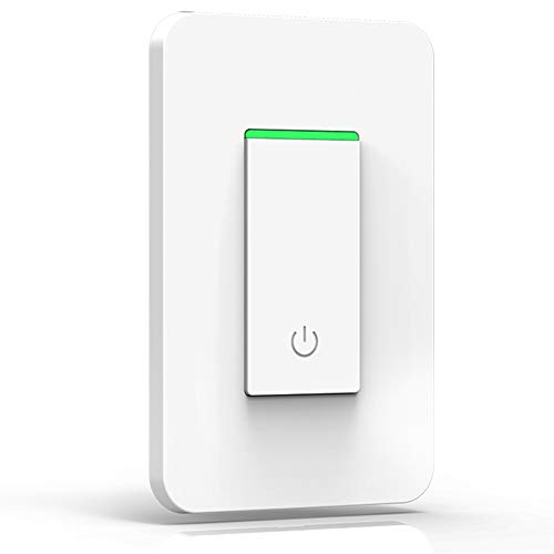 Smart Light Switch, Joso 2.4Ghz WiFi Light Switch Single-Pole Compatible with Alexa, Google Assistant & IFTTT with Timer, Mechanical Button Switch, Multi-person Remote Control, No Hub Required