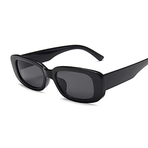 UKKD Gafas De Sol Hombre Mujer Vintage Negro Cuadrado Pequeño Rectángulo Gafas De Sol Gradenado Femenino Gradiente Espejo Claro