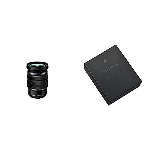 Olympus M. Zuiko Digital ED 12-100mm F4 is Pro Objektiv, geeignet für alle MFT-Kameras, schwarz & BLH-1 Li-Ionen-Akku (1740mAh, geeignet für OM-D E-M1 Mark II) schwarz