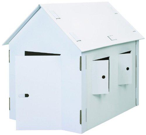 Kreul JP000405 39105 - Joypac Bastelkarton Spielhaus, XXL, ca. 120 x 80 x 110 cm groß, aus stabiler weißer Pappe, zum bemalen, bekleben und dekorieren, ideal für Kinder